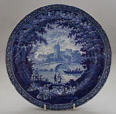 Antique Pottery Pearlware Blue Transfer Adams Alnwick Castle Pattern Plate 1825