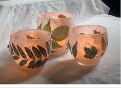 Fall Leave Candles- Craft glue, white tissue paper, fall leaves, tea lights and candle holder. http://crafts.kaboose.com/nature-luminary-candle-holders.html