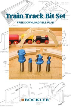 "The Rockler Train Track Bit Set lets you create unlimited amounts of track for classic, collectable wooden train sets. Tap here to learn how easy it is to make curved and straight track at a fraction of the cost of ""store bought"" sets! #CreateWithConfidence #traintrack #bitset #routerbit #woodworkingplan #freeplan Beginner Woodworking Projects, Diy Woodworking, Router Accessories, Router Lift, Wooden Train, Yard Games, Wood Working For Beginners, Train Tracks, Play Houses"