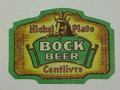 Centlivre Brewing Co. Nickel plate bock beer bottle label Fort Wayne Indiana