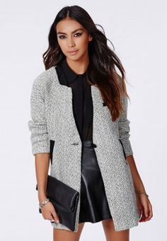 Petera Tweed Boyfriend Coat With Faux Leather Trim