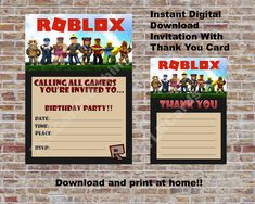 Digital Invitations Printable Party Printables Birthday Thank You Cards Fill Printing Card Ideas Fiestas Appreciation