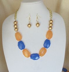 Royal Blue,Orange Rectangle Acrylic Faceted Beads Team Statement Necklace Set,Gold Wood Beads Glass Pearl,Gold Chain,Matching Earrings by ckdesignsforyou. Explore more products on http://ckdesignsforyou.etsy.com
