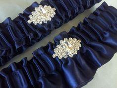 Navy Something Blue Bridal Garter Set Satin Sash by Allofyou