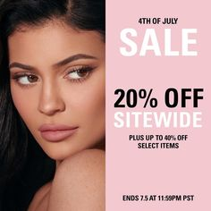 Shop the 4th of July sale now! 💕 20% off sitewide and 40% off select products on KylieCosmetics.com + free domestic shipping on orders over $30 ✨ Ends 7.5 11:59pm pst! #FourthofJuly