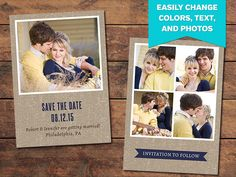 Creating a beautiful save-the-date card for your clients is easy with the help of this Photoshop template. Graduation Announcement Template, Announcement Cards, Save The Date Templates, Wedding Card Templates, Bookmark Template, Bay Photo, Text For Her, Save The Date Cards, Creative Cards