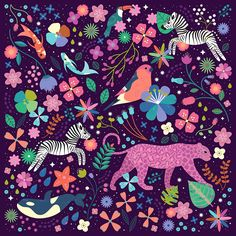 Carly Watts Illustration: Wild #zebra #leopard #orca #whale #toucan #koi #pattern #illustration #design