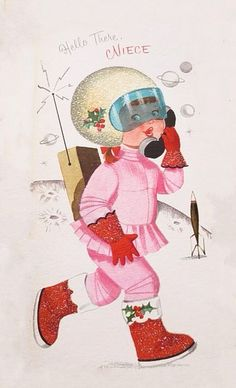 vintage Christmas MCM girl in pink astronaut suit Vintage Pink Christmas, Purple Christmas, Christmas Past, Vintage Holiday, Christmas Girls, Xmas Cards, Holiday Cards, Tri Fold Cards, Xmas Greetings