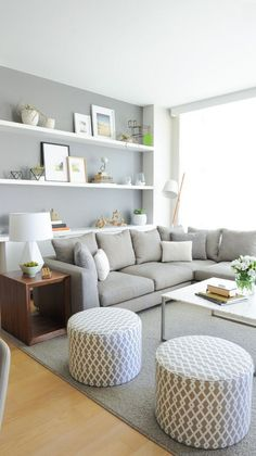 Living Room Grey, Small Living Rooms, Living Room Modern, Home Living Room, Living Area, Tiny Living, Small Living Room Designs, Living Spaces, Simple Living Room Decor