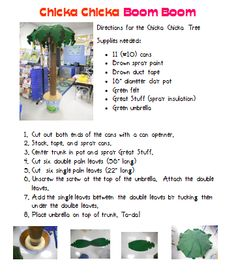Chicka Chicka Boom Boom- How to make a tree. Good for the reading corner!
