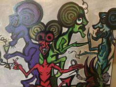 "Demons Shin Dig 12"" x 12"" oil on canvas by AlabasterandObsidian on Etsy"