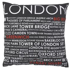 Keep it cool, calm and sophisticated with print cushions. Sharp, modern designs in white and red on black, will add a touch of class to any room. Black And White Cushions, Black White, Metropolitan Line, Contemporary Cushions, Arch House, Houses Of Parliament, Printed Cushions, Bond Street, London City
