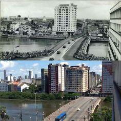 Antes e Depois ( 1940 e 2000) Bairro da Boa Vista com a Ponte Duarte Coelho.