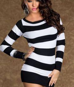 Spandex Black and White Stripe Dress-Black and White