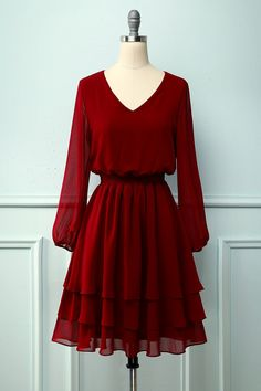Casual Party Dresses, Stylish Dresses, Simple Dresses, Pretty Dresses, Beautiful Dresses, Fashion Dresses, Dress Outfits, Simple Red Dress, Casual Cocktail Dress
