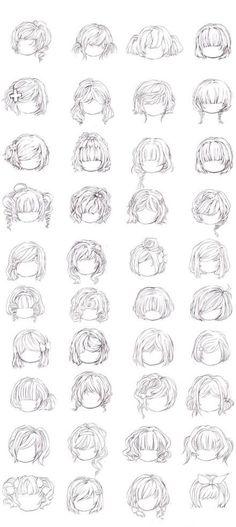 Ideas Drawing Anime Girl Manga Hair Style For 2019 Curly Bangs, Curly Afro, Curly Hair Styles, Hair Bangs, Curly Short, Bob Bangs, Short Afro, Short Bobs, Cool Drawings