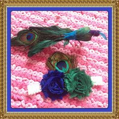 Peacock Inspired Royal Blue and Green Shabby Flower by BabyTrendzz