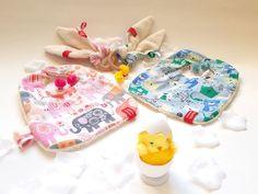 TWINS GIFT SET - Two Bandana bibs & two bunny ear teethers - sSCAPESs art & handmade
