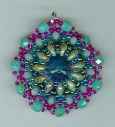 Super Duo Pendant with Rivoli.  My first success. Made by Marcie Lynne