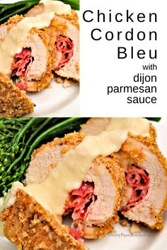 This Homemade Dish Is Crispy And Delicious, Filled With Cheese And Ham. It Is An easy Version Of The Famous French Meal That Is Ready In About One Hour. . Cordon Bleu Sauce, Chicken Cordon Blue Easy, Breaded Chicken, Cooked Chicken, Mothers Day Dinner, Sauteed Kale, Easy Chicken Recipes, Turkey Recipes, Recipes