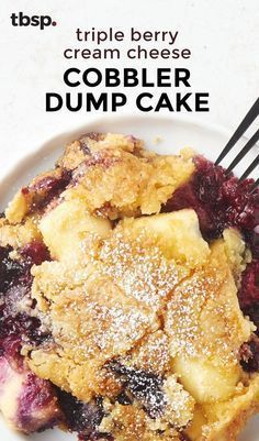 When a fresh berry cobbler meets an easy dump cake, the end result is pure magic. Raspberries, blueberries and blackberries get mixed with cream cheese and cake mix for an easy dessert that's no-fuss and totally delicious.