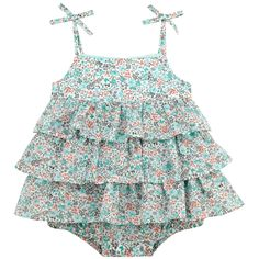 Flounced one-piece dress made of sea green liberty printed percale fabric. Spaghetti straps. Buttons at the back. Popper fastening inside the legs. - $ 46.90