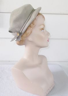 1950s Vintage Gray Felt Hat with Bows Henry by MyVintageHatShop