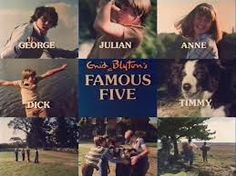 The Famous Five is the name of a series of children's novels written by British author Enid Blyton. The first book, Five on a Treasure Island, was published in 1942. The novels feature the adventures of a group of young children – Julian, Dick, Anne and Georgina (George) – and their dog Timmy.