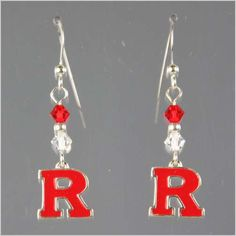 "41c8fdf01f55d Support your Scarlet Knights by wearing these handmade Swarovski Crystal  and Sterling earrings sporting the officially licensed Rutgers University  ""Block R"" ..."