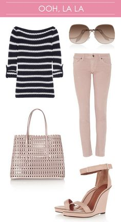 Tory Burch Striped Sweater // COH Skinny nude jeans // Alaia Laser Cut Tote // Oversized Victoria Beckham Sunglasses // Givenchy Zipper Detail Nude Sandals