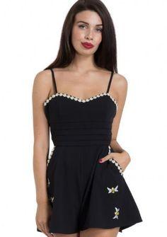 Voodoo Vixen Brittany Black Play Suit Bee's Daisy Flowers Short Romper S-2X #VoodooVixen #Romper