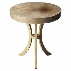 """Display fresh florals or family photos on this wood side table, showcasing a distressed finish and sabered pedestal legs.    Product: Side table    Construction Material: Solid woods and wood products     Color: Distressed driftwood   Dimensions: 26"""" H x 24"""" Diameter  Cleaning and Care: Wipe with a soft dry or slightly dampened cloth. Periodic use of a quality furniture oil to nourish the wood is recommended."""