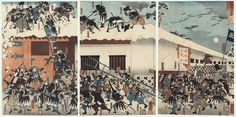 The 47 Ronin Scaling the Wall of Moronao's Palace, 1852 by Kuniyoshi (1797 - 1861)