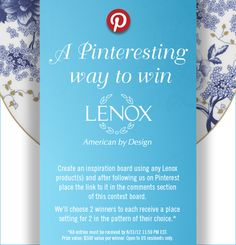 -Lenox dishes for the special occasion in your life....I have some
