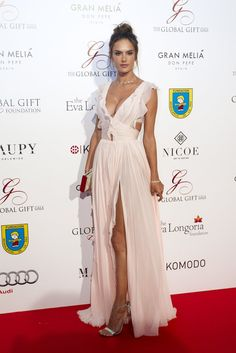 Alessandra Ambrosio turned heads on the star-studded red carpet in a soft pink J. Mendel gown with a plunging neckline, a sexy slit, and all kinds of dainty ruffles throughout.