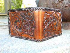 Men's Leather Wallet Hand Made Hand tooled in by ShoalCreekLeather, $145.00