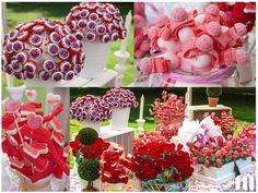 Buffet de chuches en rosa & rojo  Pink & red candy bar ......  wedding#ideas#pink#red#diy