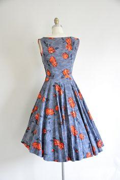 vintage 50s cocktail dress/ 1950s rose dress/ by seaofvintage