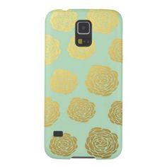 Gold Mint Flowers Samsung Galaxy S5 case