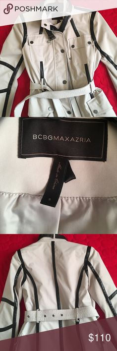 Faux leather BCBG MaxAzria cream motorcycle jacket Very unique, exclusive BCBG MaxAzria faux leather jacket, never worn, in great condition. BCBGMaxAzria Jackets & Coats