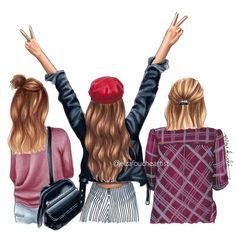 hair drawing Tag a friend thats always extra . Watch my story for some live hair drawing! Cute Best Friend Drawings, Girly Drawings, Drawings Of Friends, Friend Cartoon, Girl Cartoon, Cartoon Art, 3 Best Friends, Best Friends Forever, Best Friend Pictures