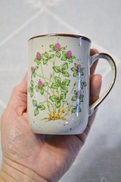 Stoneware Cup Mug Sweet Clover Green Purple by PanchosPorch