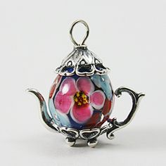 Chinese Blue with Blue and Pink Flowers Bead Teapot (12mm) :
