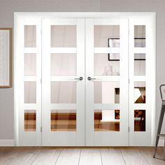 Easi-frame Shaker white door pair and frame room dividers are easy to fit. Room Divider Doors, Room Dividers, French Door Curtains, French Doors Bedroom, Sliding Wall, Sliding Doors, Room Partition Designs, Traditional Doors, Door Sets