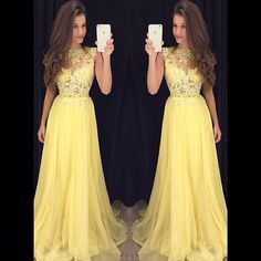 A line long chiffon lace yellow prom dress,yellow lace evening dress,prom dress 2017– FashionDressGallery