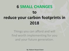 6 small changes to reduce carbon footprints in 2018 House In Nature, Small Changes, Carbon Footprint, Biodegradable Products, Presentation
