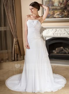 A-Line/Princess Strapless Court Train Chiffon Wedding Dress With Crystal Brooch Cascading Ruffles (002012585) - JJsHouse