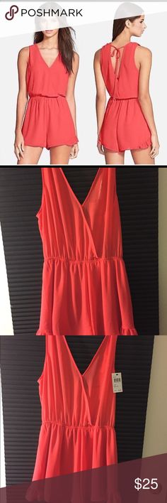 ASTR Coral Romper  ~  Size: X-Small  ~  NWT ASTR  Coral Romper   Size: X-Small    100% Polyester  Retails for $64  New With Tags Astr Pants Jumpsuits & Rompers