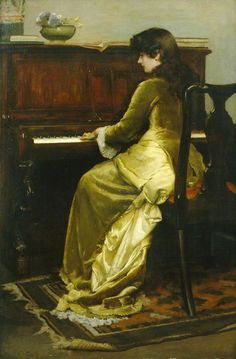 The Reverie (1900). CharlesGogin (British, 1844-1931). Oil on canvas.Royal Pavilion, Libraries  Museums, Brighton  Hove. The Reverie shows a woman in late Victorian gold-coloured dress sitting playing a piano.