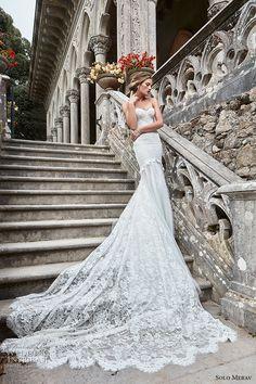 solo merav 2017 bridal strapless sweetheart neckline heavily embellished bodice elegant trumpet sheath wedding dress long train (inez) mv